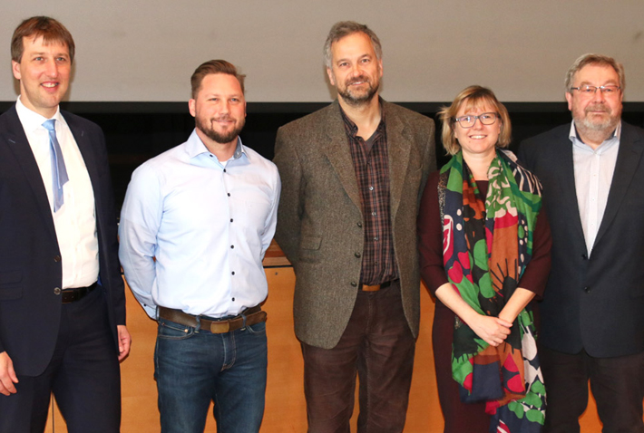 Von links: Bürgermeister Wolfgang Beißmann, Michael Berger, Dr. Wolfgang Beinbauer, Dr. Anna Schreff, Karl-Heinz Edelmann