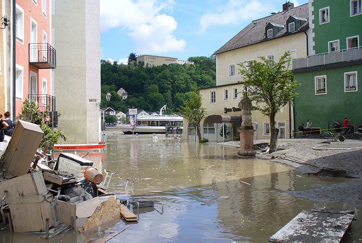 Passau im Juni 2013 nach der Flutkatastrophe